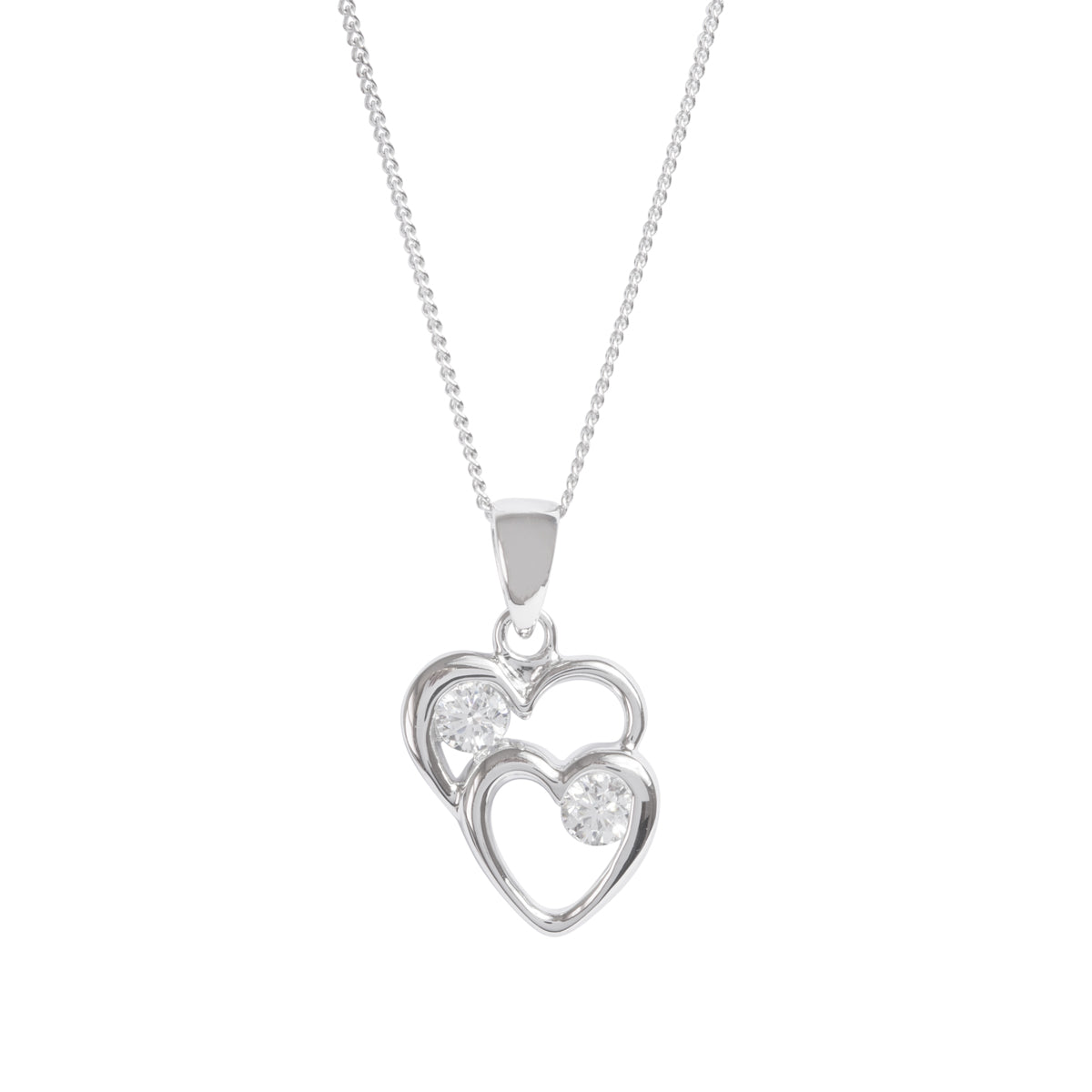 Sparkly double heart pendant