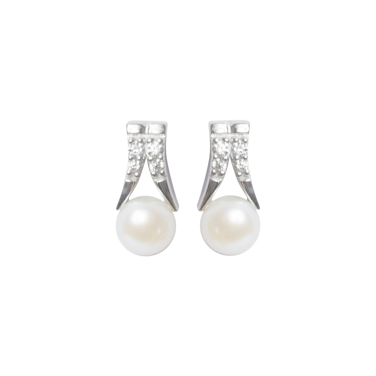 Split bar pearl earrings