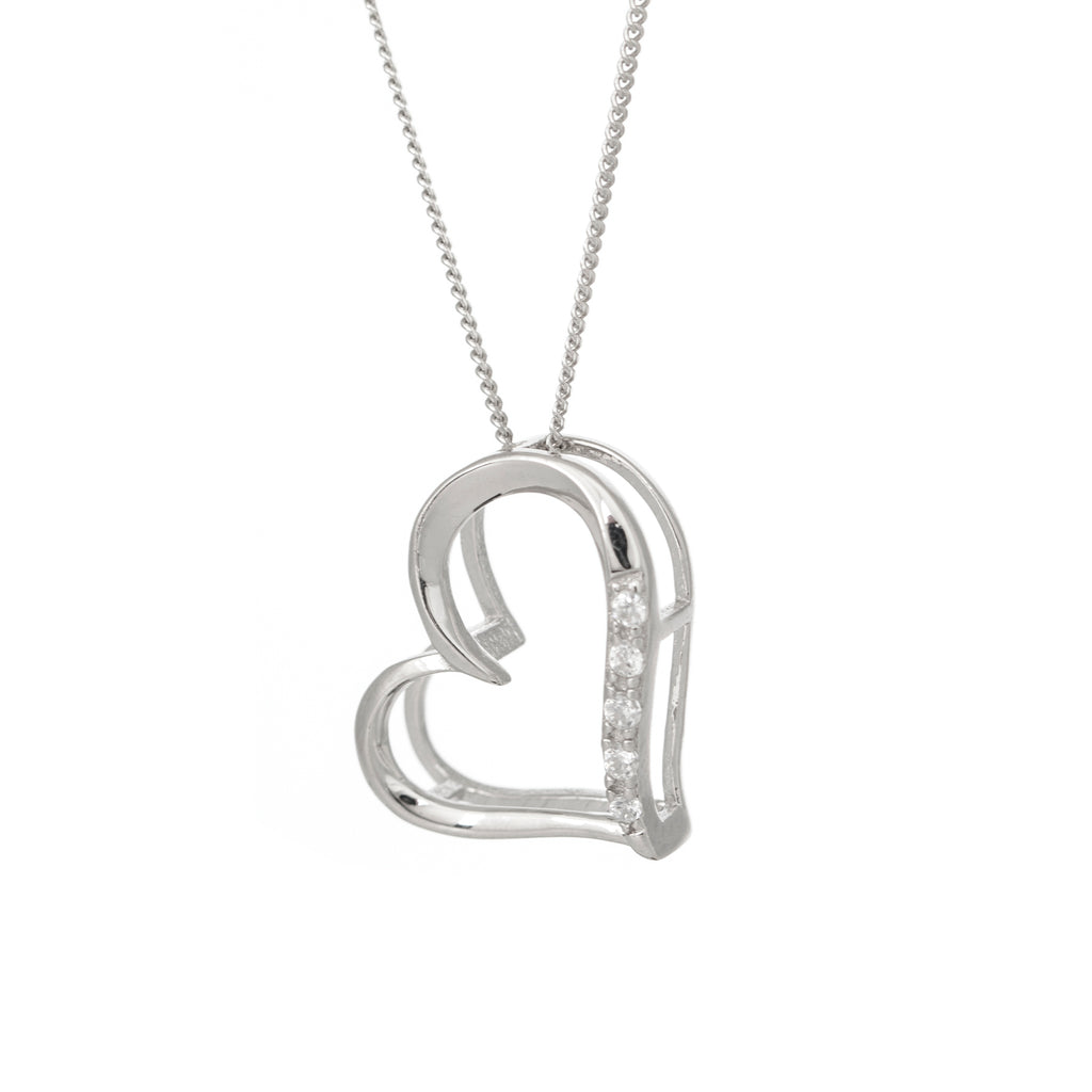 Open Curved Sterling Silver Heart Necklace