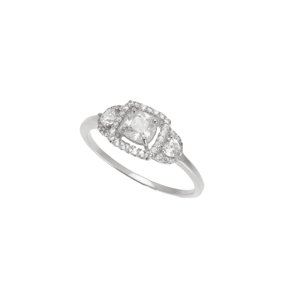 Silver CZ & Micro Pave Ring