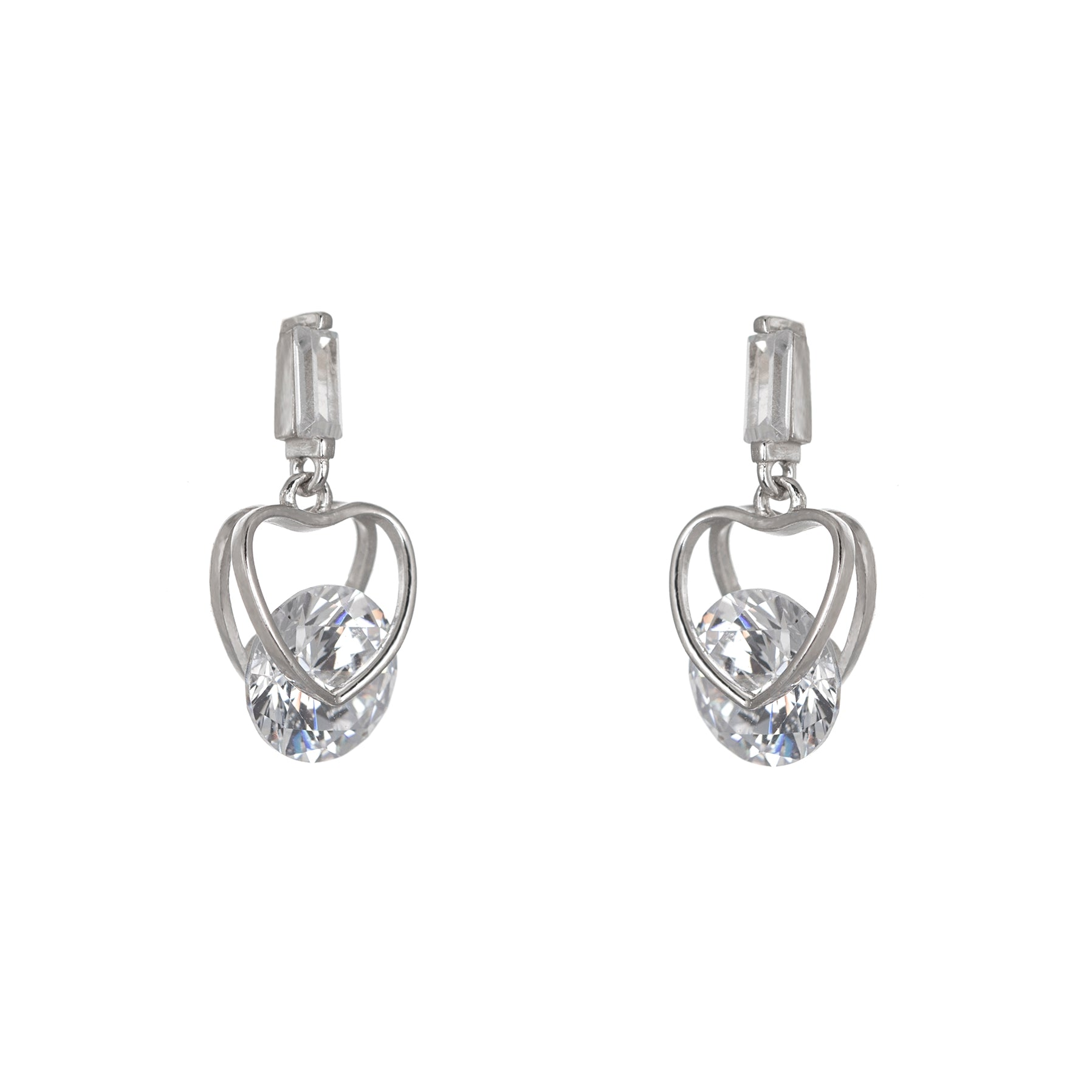 Sparkly heart silhouette dropper earrings
