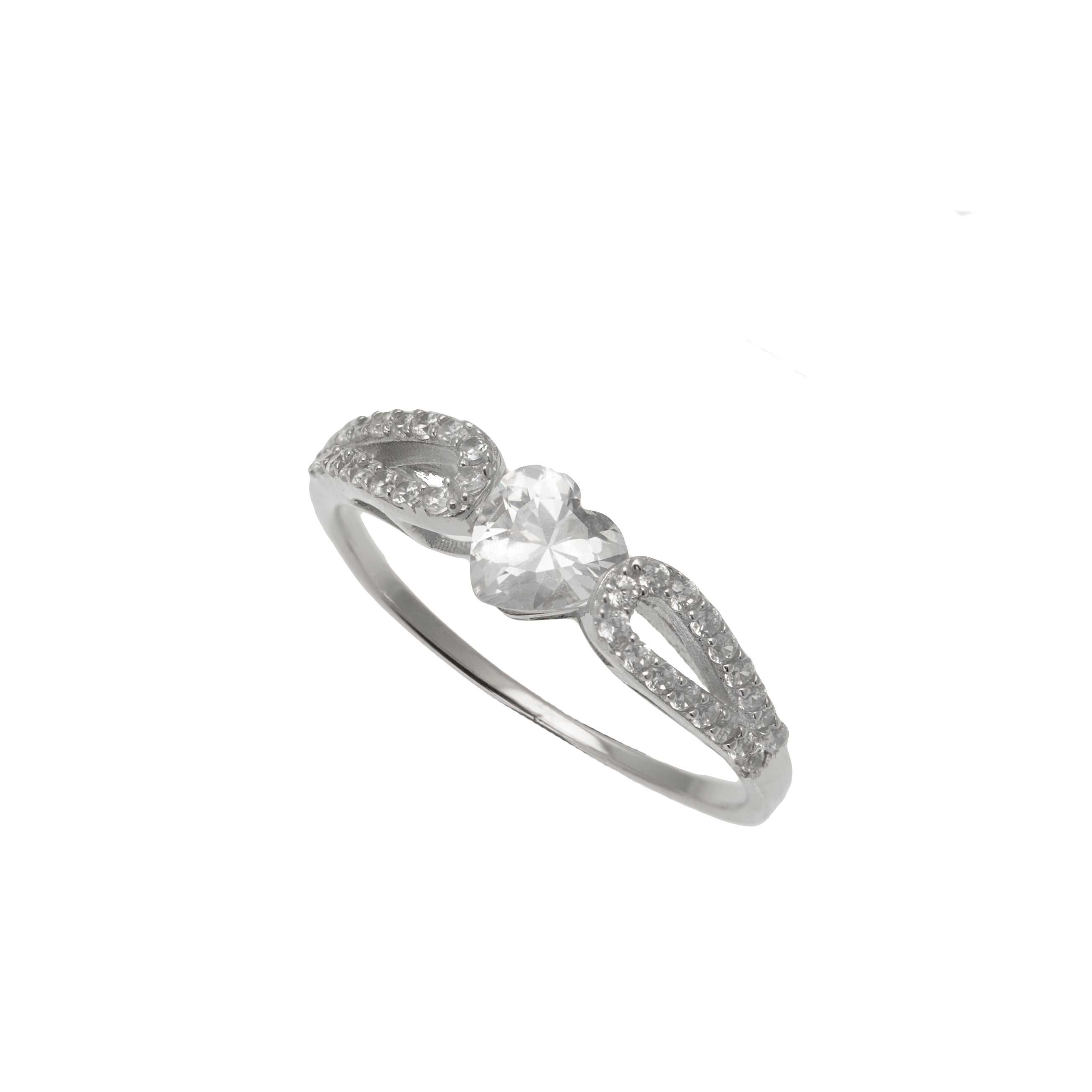 Silver Micro Pave CZ Heart Ring
