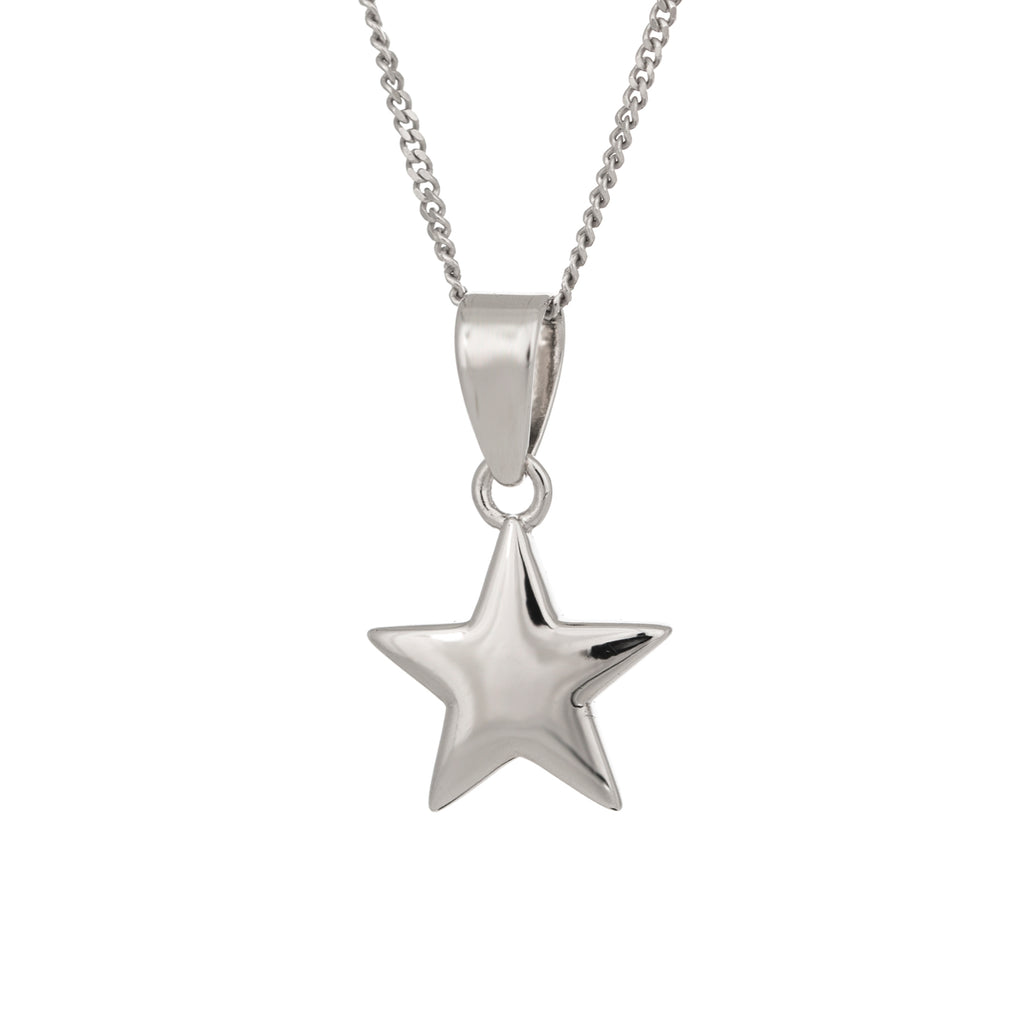 Star polished silver pendant