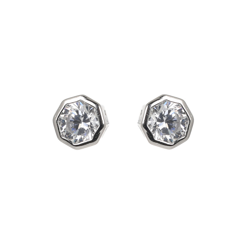 Octagon solitaire earrings