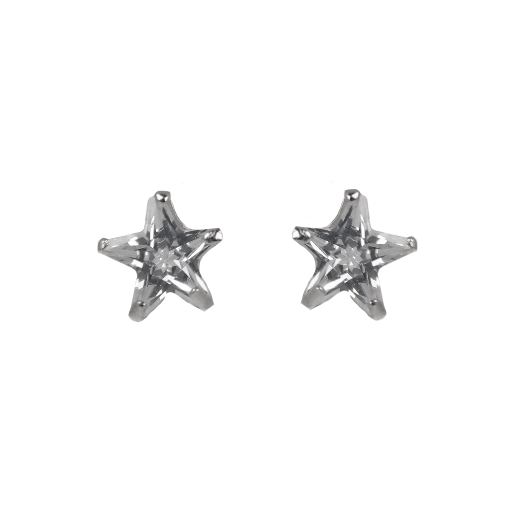 Dainty Star Shaped Sterling Silver Stud Earrings