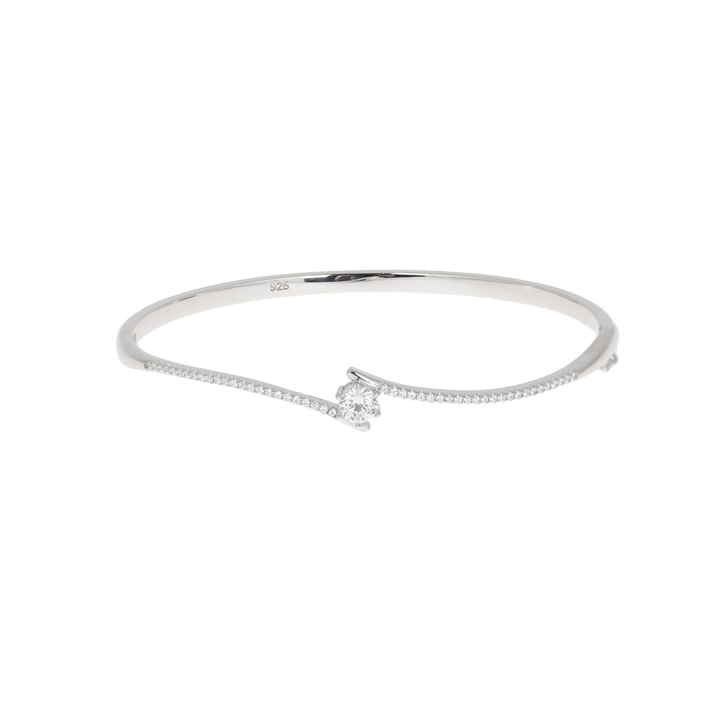 Solitaire wave bangle