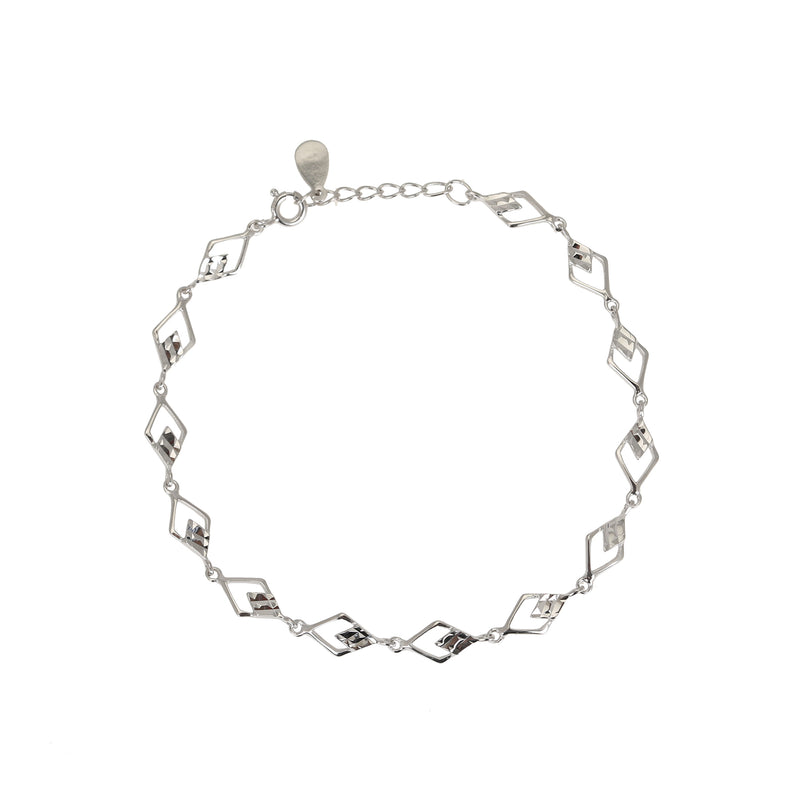 Diamond Cut Link Sterling Silver Bracelet