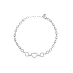 Circle and Heart Sterling Silver Bracelet