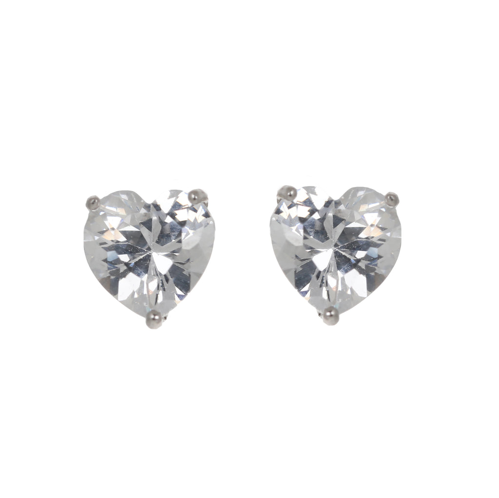 Solitaire heart stud earring