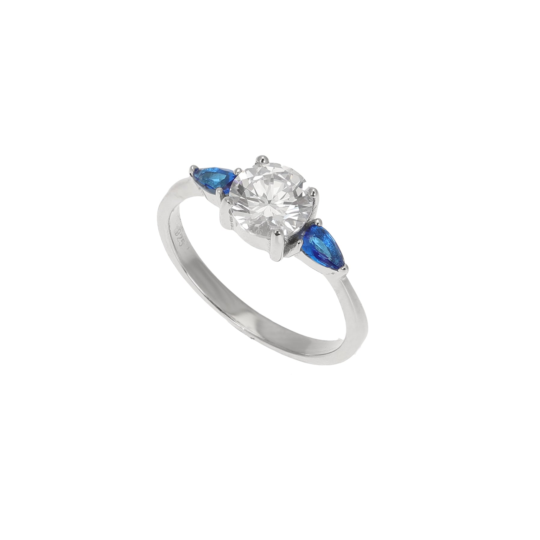Silver Blue and White CZ Round Shoulder Ring