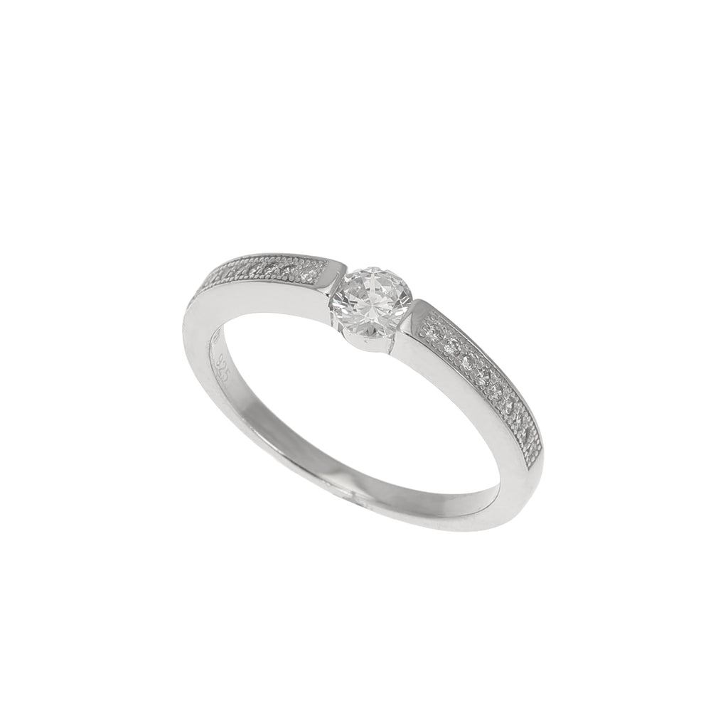 Silver CZ Tension Set Solitaire Ring