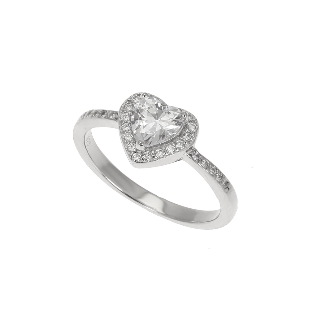 Silver CZ Heart Ring