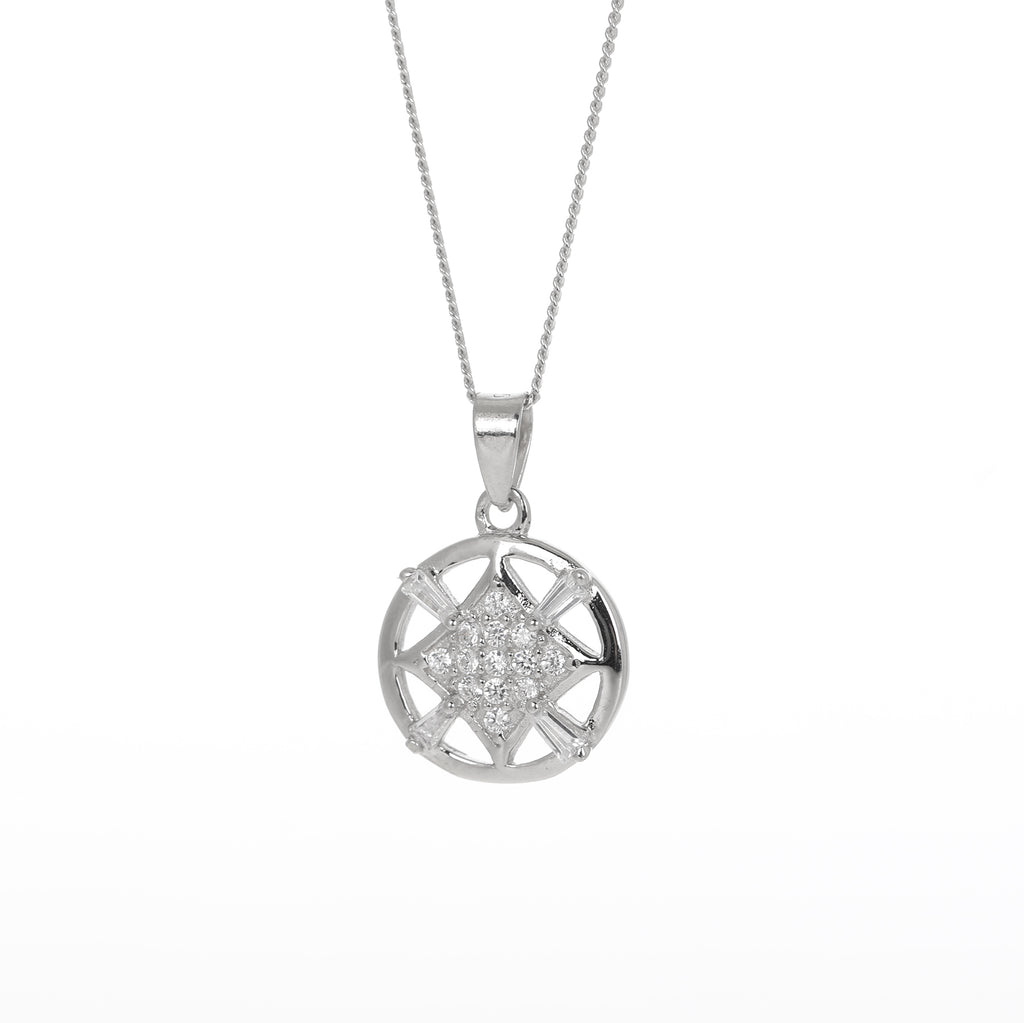 Open circle and diamond pendant