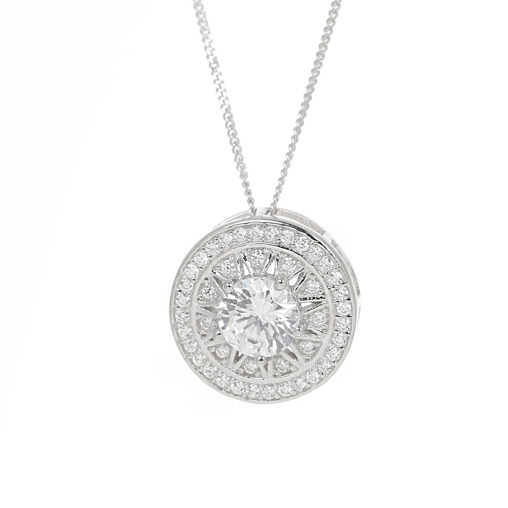 Compass Circular Sterling Silver Necklace