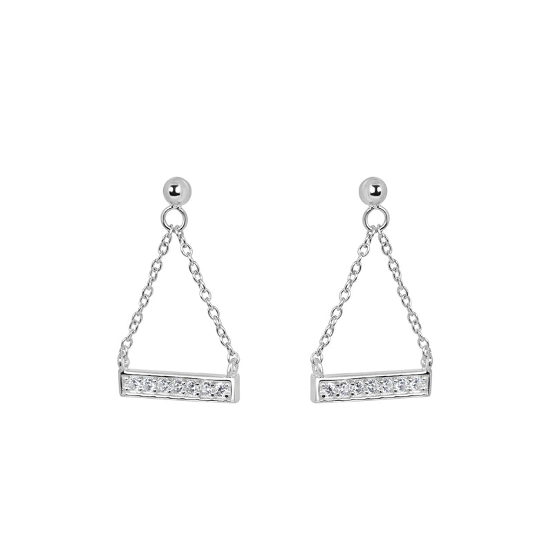 Silver Ingot dropper earrings