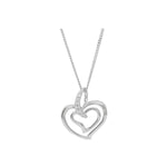 Silver Double Open interlinking heart pendant