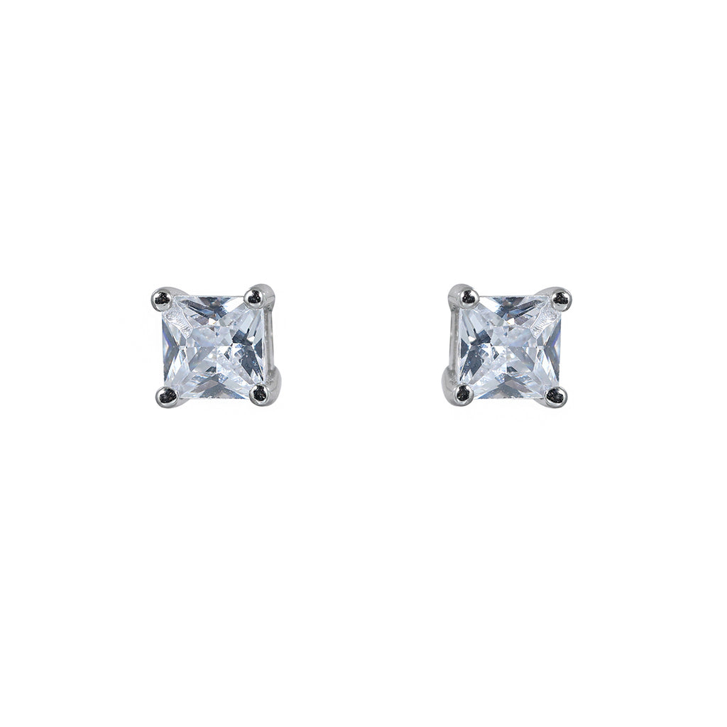 Princess cut stud earring