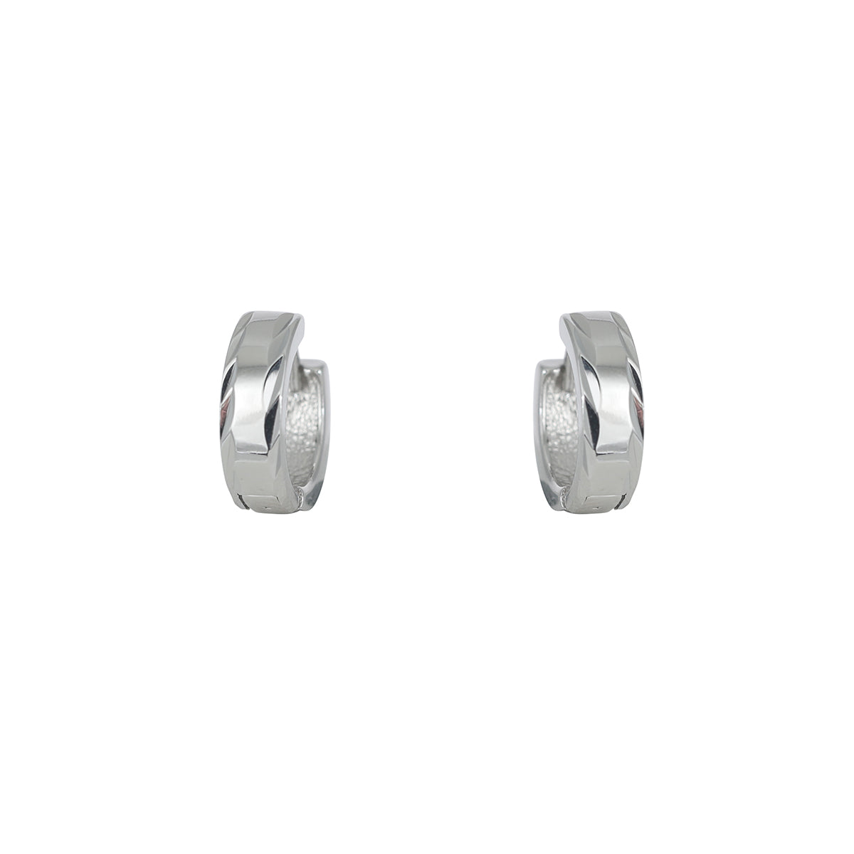 Diamond Cut Edge Huggie Earring