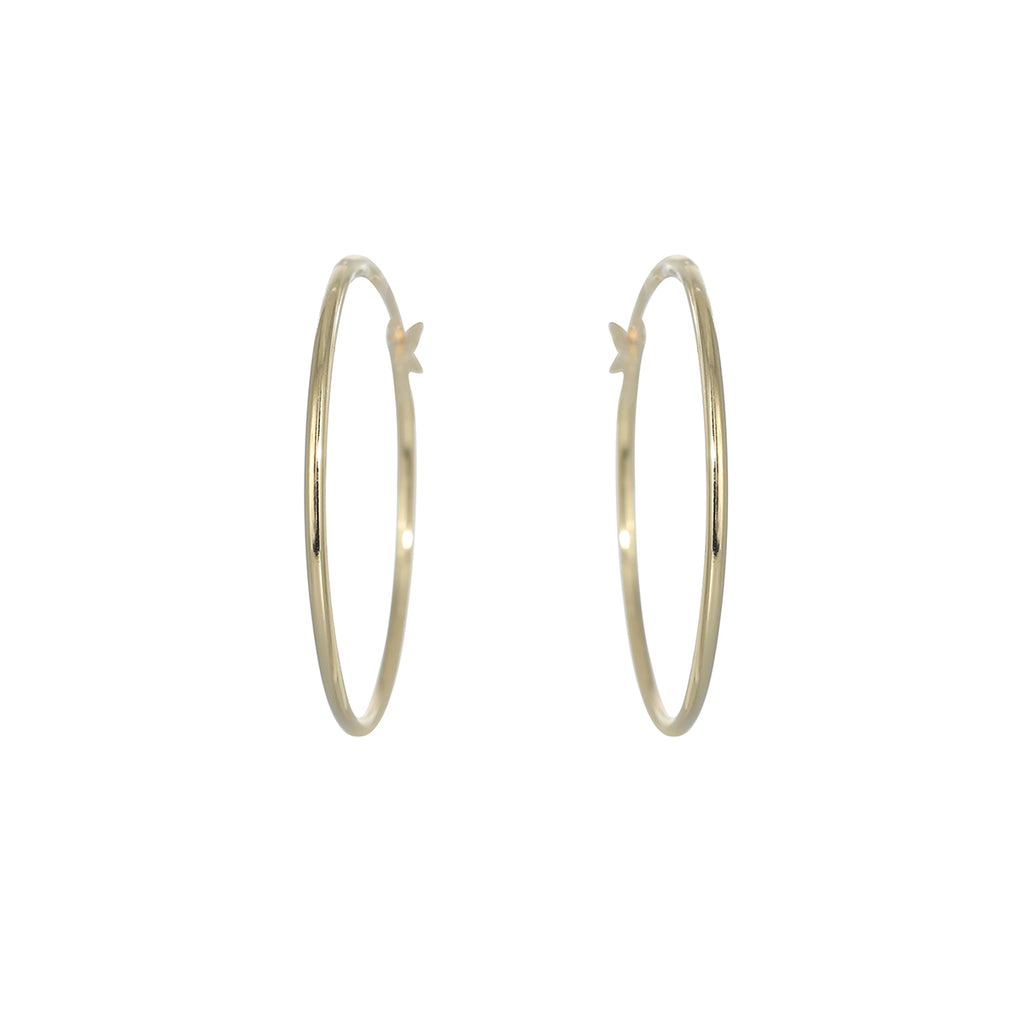 Gold Plated 30mm Plain Hoop Earring