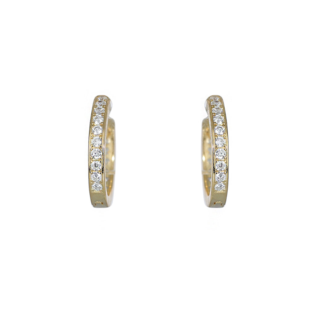 Gold plated sparkle huggie earring