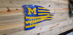 Michigan Wolverines Flag Vector CAD File