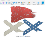Tattered Rebel Flag DXF File - 3 layer design DXF-SVG Format
