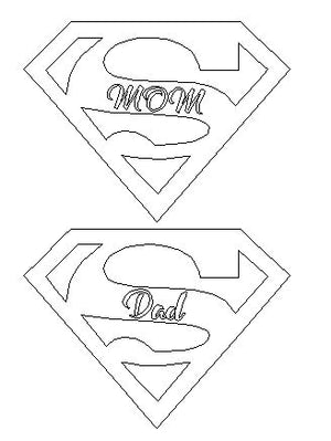 Superman Inspired SuperDad/SuperMom Sign- DXF and SVG of both versions