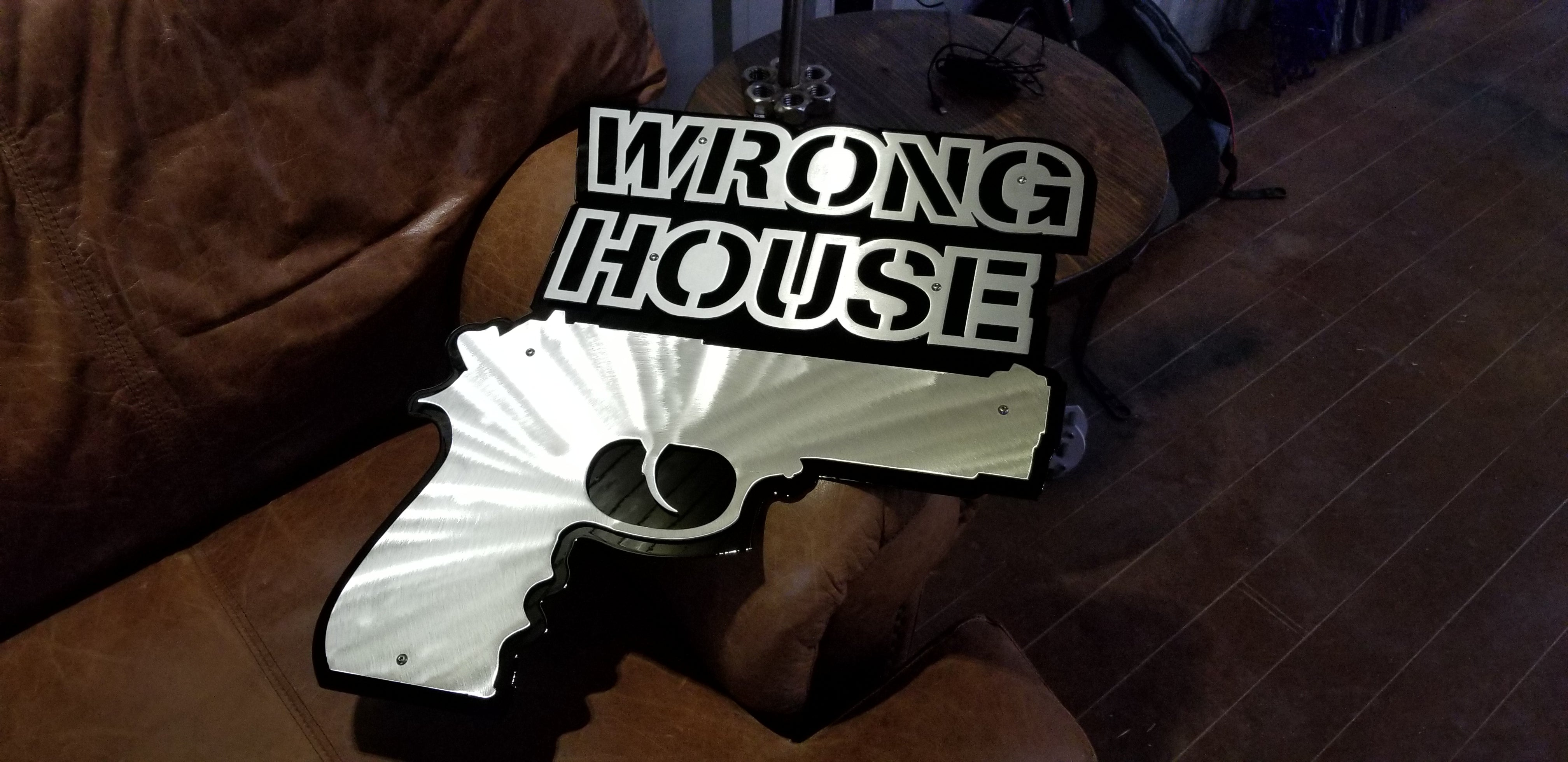 Wrong House Gun Sign Vector CAD SVG DXF File