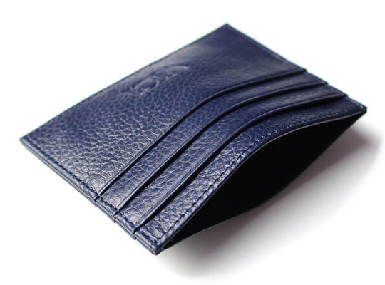 Leather cardholder with RFID (navy)