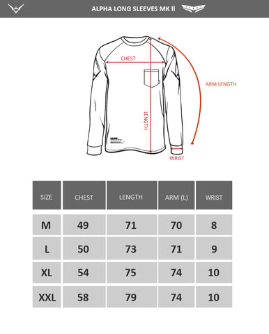 Alpha long sleeves MK02 - Size chart