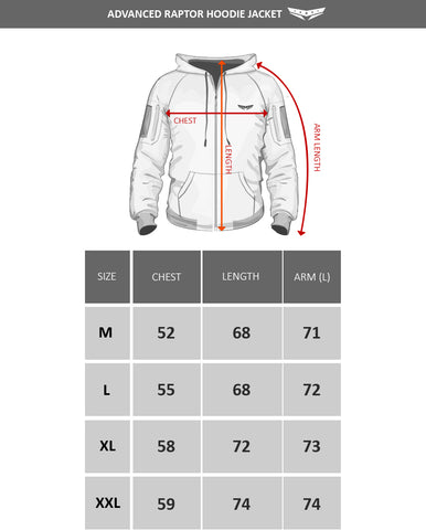 Advanced Raptor hoodie size chart