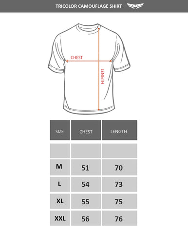 Tricolor camouflage shirt size chart