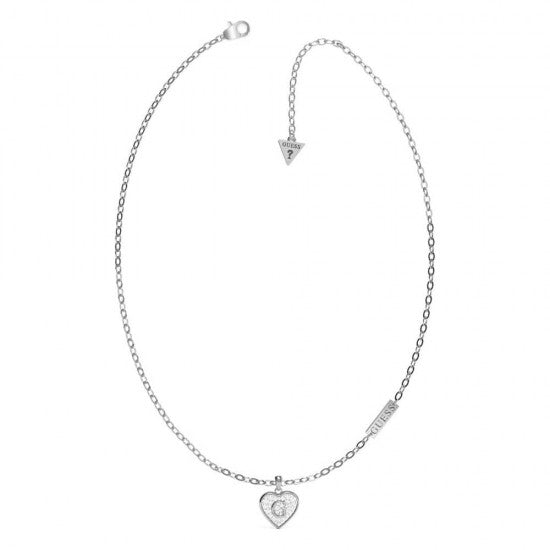 Guess Shine Crystal Heart Necklace in Silver