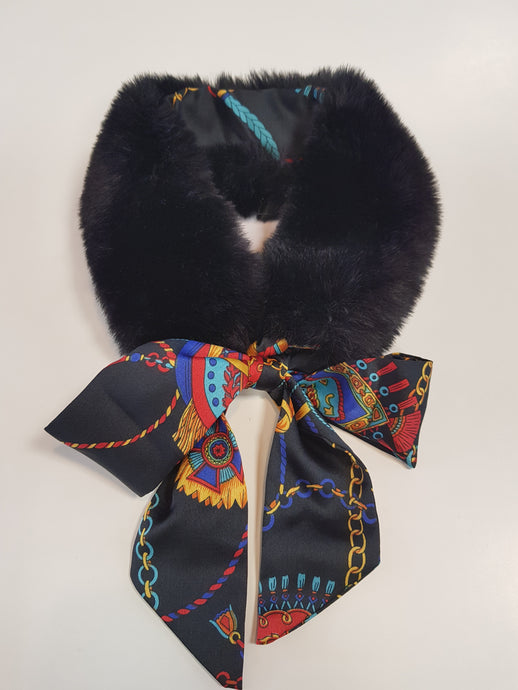Black Faux Fur Patterned Neck Tie