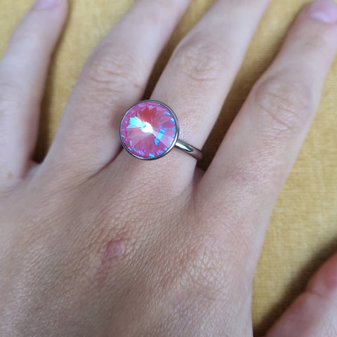 13mm Lotus Pink Delite Bottone in Steel
