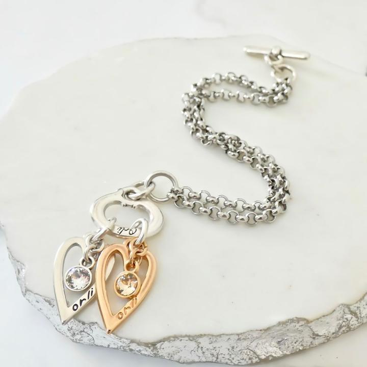 Orli Twin Open Heart Double Chain Bracelet in Two Tone