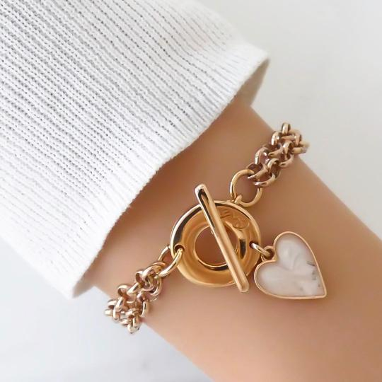 Orli Cream Marble Heart Bracelet in Rose