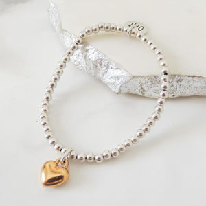 Orli Puffed Heart Beaded Bracelet in Two Tone