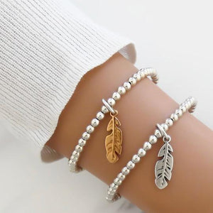 Orli Feather Beaded Bracelet in Two Tone