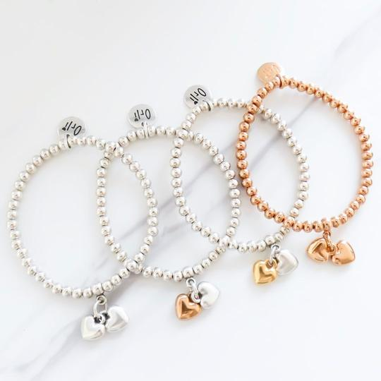 Orli Twin Puffed Hearts Beaded Bracelet