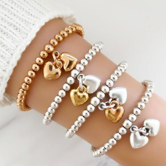 Orli Twin Puffed Hearts Beaded Bracelet in Two Tone