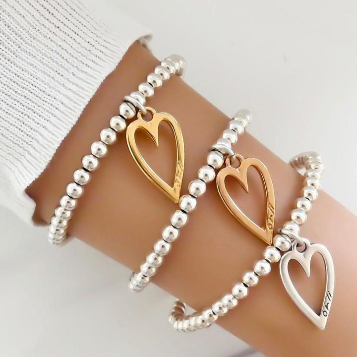 Orli Mini Open Heart Beaded Bracelet in Silver