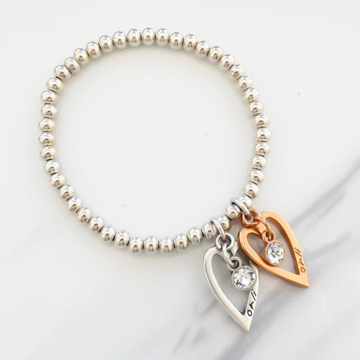 Orli Two Tone Open Heart with Crystal Bracelet