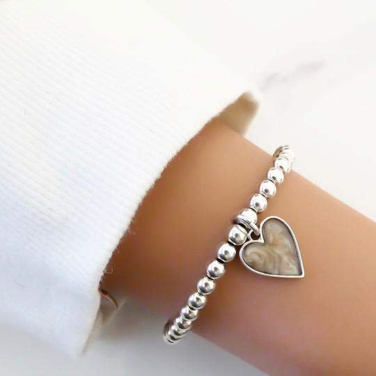 Orli Grey Marble Heart Beaded Bracelet