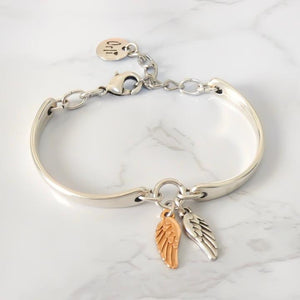 Orli Twin Angel Wing Bracelet in Two Tone