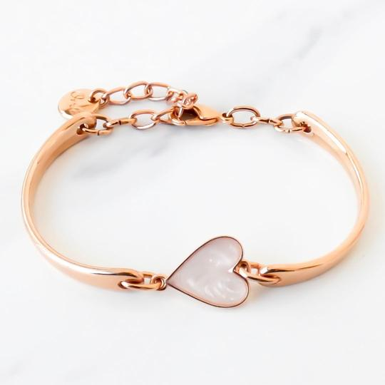 Orli Cream Marble Heart Brangle in Rose