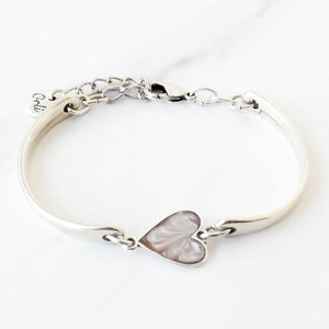 Orli Grey Marble Heart Brangle in Silver Plating