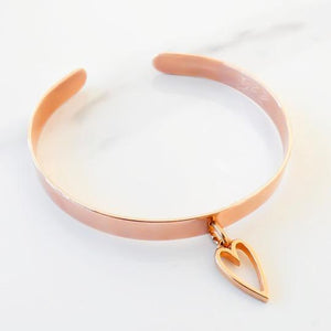 Orli Open Heart Expandable Bangle in Rose