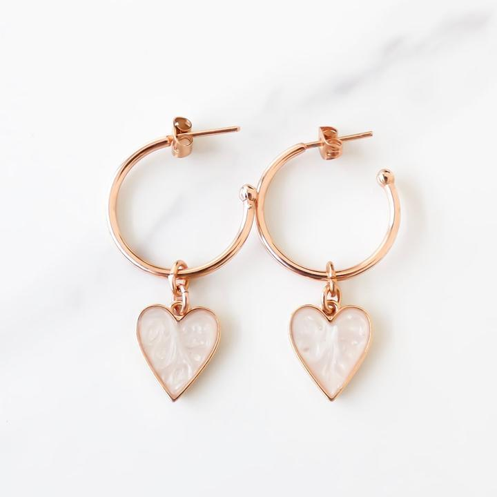 Orli Marble Heart Earrings in Rose