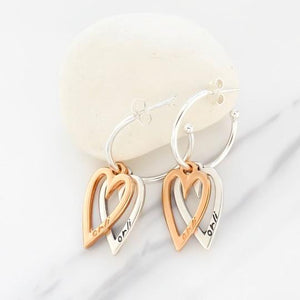 Orli Two Tone Open Heart Hoop Earrings
